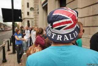 Man wearing Australia hat