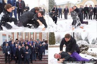 Collage of Kadyrov and his ministers in the snow.