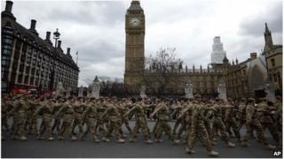 British soldiers of the 4th Mechanised Brigade parade through London after returning from Afghanistan (2013)