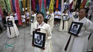 "Protest in Seoul against Japan's use of ""comfort women"" in World War Two (file photo - Aug 2013)"