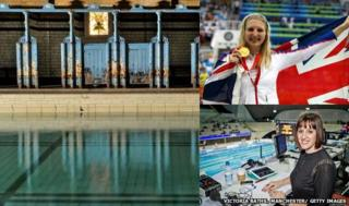 Composite picture of Manchester's Victoria Baths, Rebecca Adlington and Karen Pickering