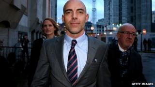 Ex-Sunday Mirror and NoW reporter Dan Evans leaves the Old Bailey on 27 January