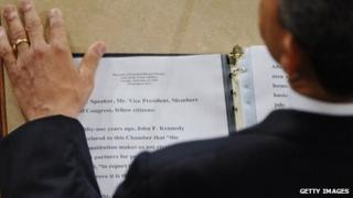 An over-the-shoulder view of the text of President Obama's 2013 address to Congress