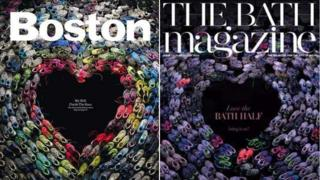 Covers of Boston magazine (L) and The Bath magazine (R)