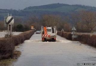Flooded road in Llandrinio - photo by Debbie Docherty