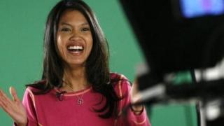 Conservative columnist Michelle Malkin stands in front of a television camera in January 2007.