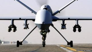 MoD handout photo of an RAF Reaper UAV (Unmanned Aerial Vehicle).
