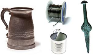 Clockwise: A pewter tankard, a roll of solder, a bronze dagger and a tin can