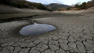 Small pool of water is surrounded by cracked earth at the Almaden Reservoir (28 January 2014)