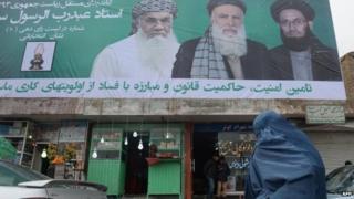An election poster for Abdul Rasul Sayyaf in Kabul, 2 Feb