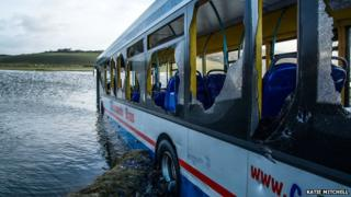A bus stranded in Newgale, west Wales