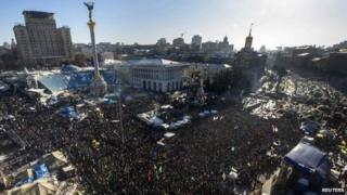 Anti-government protesters hold a rally in central Kiev