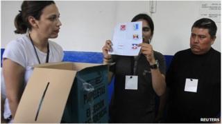 El Salvador electoral officials counting ballots