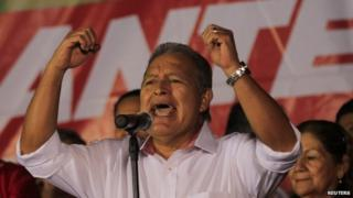 Salvador Sanchez Ceren, presidential candidate for the Farabundo Marti Front for National Liberation (FMLN), speaks to his supporters in San Salvador on 3 February, 2014