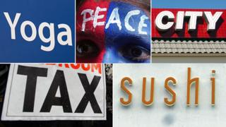 "signs for ""yoga"", ""peace"", ""city"", ""tax"", and ""sushi"""