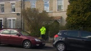 Police at the scene in Woodbine Road, Gosforth