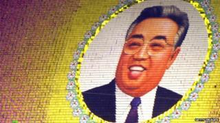 An image of Kim Il-sung at the Arirang mass games in Pyongyang