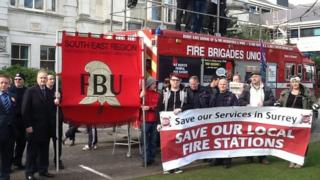 Protests over the decision to close two Spelthorne fire stations