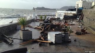 Storm damage at the Waterfront Restaurant, Plymouth
