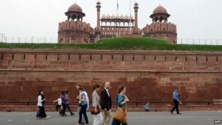 Foreign tourists in Delhi
