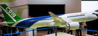 A model of C919 on display
