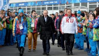 President Putin visiting the athletes' village in Sochi (5 Feb)