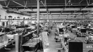 Rolls-Royce Silver Ghosts under construction, Derby, c1912. Rows of these hand-built cars at various levels of completion.