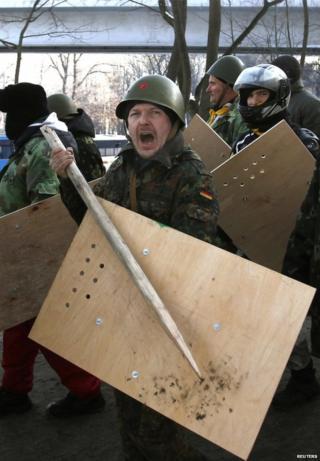 Protesters in Kiev, 6 February