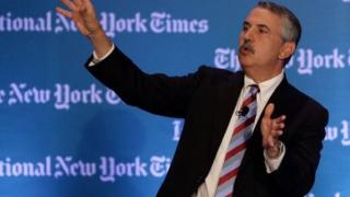 Thomas L Friedman talks at the International New York Times Global Forum in Singapore on October 25, 2013.