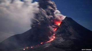 Lava and ash spew from Indonesia's Mount Sinabung