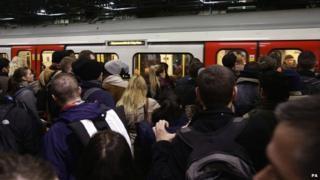 Passengers during the Tube strike