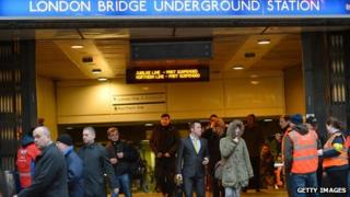 Pickets gathered outside London Bridge underground station
