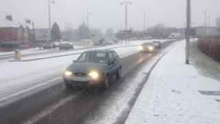 Snow in Wrexham on Monday morning