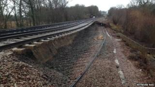 Landslip between Wadhurst and Battle in East Sussex.