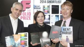 Folio Prize founder Andrew Kidd, chair of judges Lavinia Greenlaw and Folio Society MD Toby Hartwell