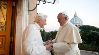 Emeritus Pope Benedict and Pope Francis at the Vatican. Photo: December 2013
