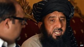 In this photograph taken on June 6, 2013, Pakistani tribesman Kareem Khan (R), the victim of a US drone attack, speaks to media during a press conference in Islamabad.