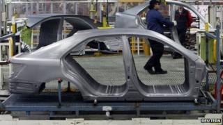 A bodyshell on the assembly line at the Toyota plant in Melbourne