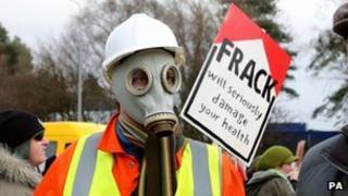 Anti-fracking protester
