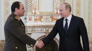 Field Marshal Sisi and Vladimir Putin in Moscow, 13 Feb