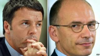 Florence Mayor Matteo Renzi (left, December 2013) and recently-resigned Italian Prime Minister Enrico Letta (June 2013)