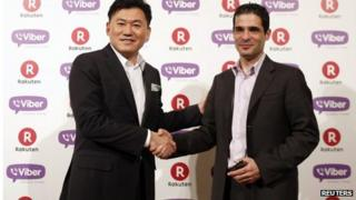 Hiroshi Mikitani, chief executive of Rakuten and Talmon Marco, Viber Media chief executive