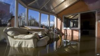 Flooded conservatory in Moorland near Taunton