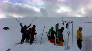 Volunteers digging out the ski two at Lake District ski club