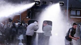 Water cannon being used in Belfast in 2001