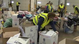 Volunteers at the distribution centre near Bridgwater
