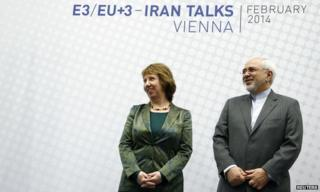 EU foreign policy chief Catherine Ashton and Iranian Foreign Minister Mohammad Javad Zarif in Vienna (18 February 2014)