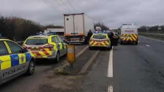 Lorry and police cars on A27