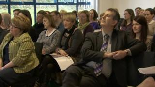 Health Minister Edwin Poots listened to A&E staff outline their concerns at the conference