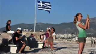 Tourists at the Acropolis in Athens